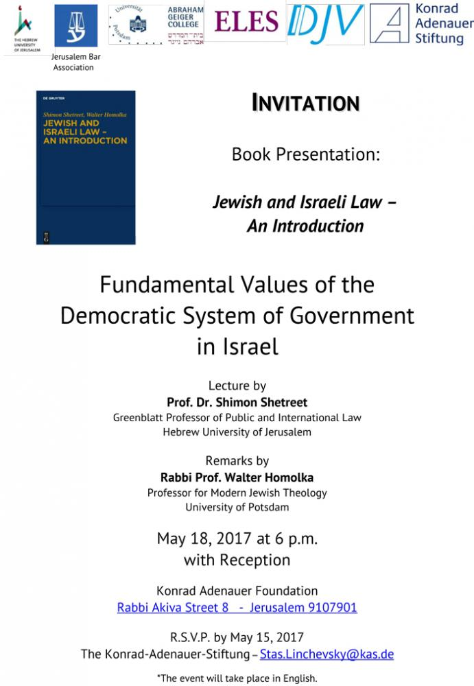 Book Presentation: Jewish and Israeli Law