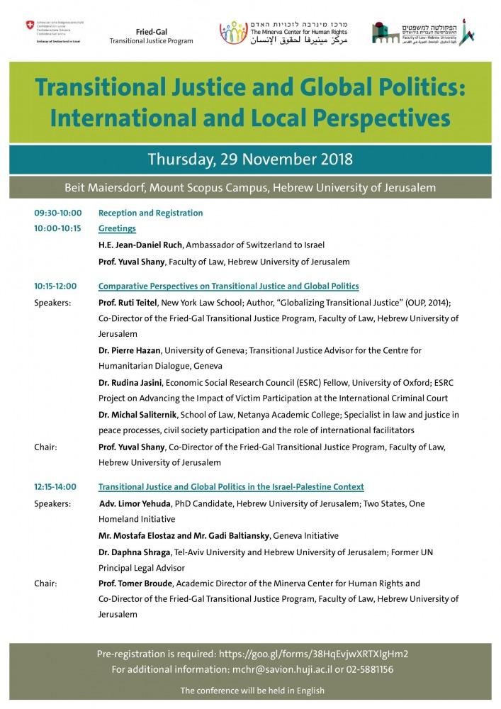 צדק מעברי ופוליטיקה גלובאלית: היבטים בינלאומיים ומקומיים