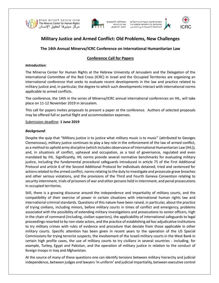 Conference Call for Papers - 14th Annual IHL - Military Justice and Armed Conflict