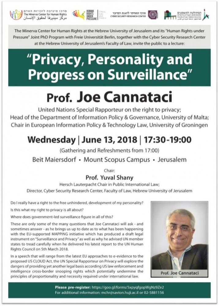 Privacy, Personality and Progress on Surveillance, Prof. Joe Cannataci