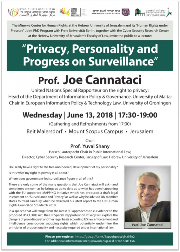 Privacy, Personality and Progress on Surveillance, Prof. Joe Cannataci