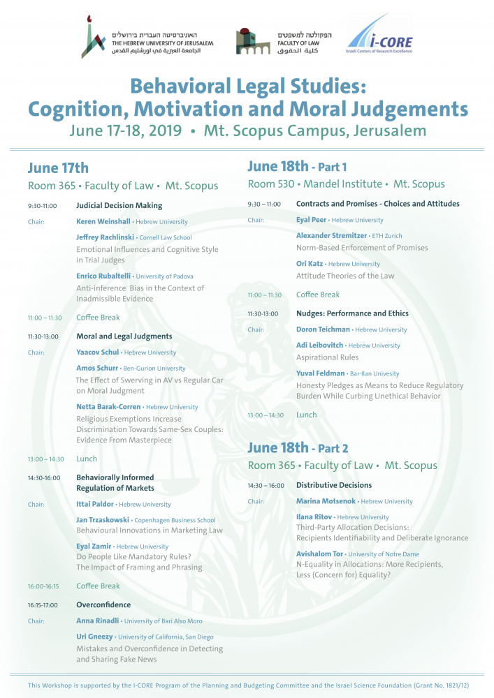 Behavioral Legal Studies-  Cognition, Motivation and Moral Judgements