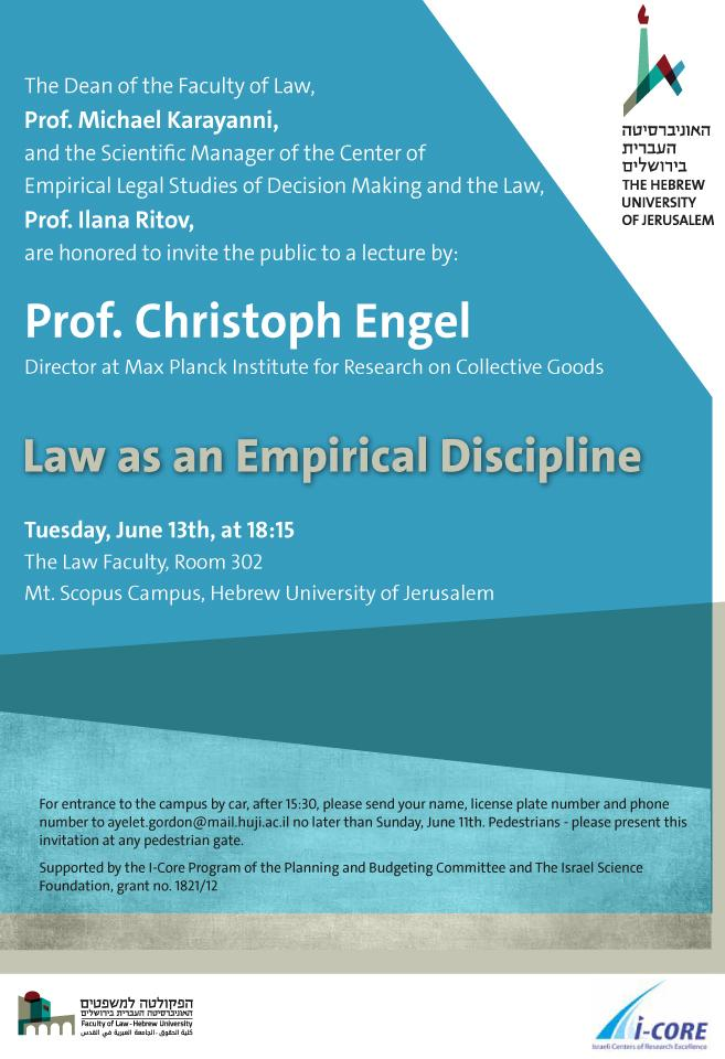 A lecture by Prof. Christoph Engel - Law as an Empirical Discipline