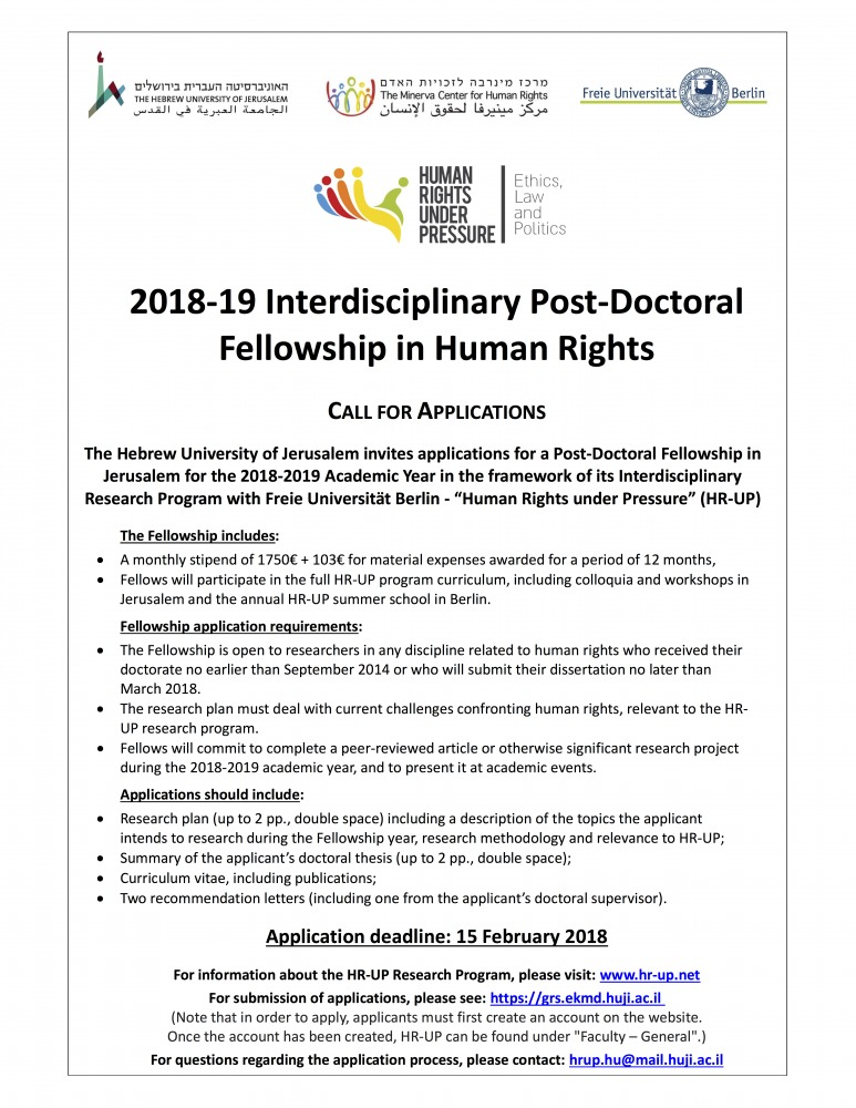 """Call for Applications for the """"Human Rights under Pressure"""" Joint Interdisciplinary Post-Doctoral Fellowship"""