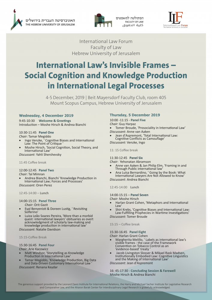 International Law's Invisible Frames – Social Cognition and Knowledge Production in International Legal Processes