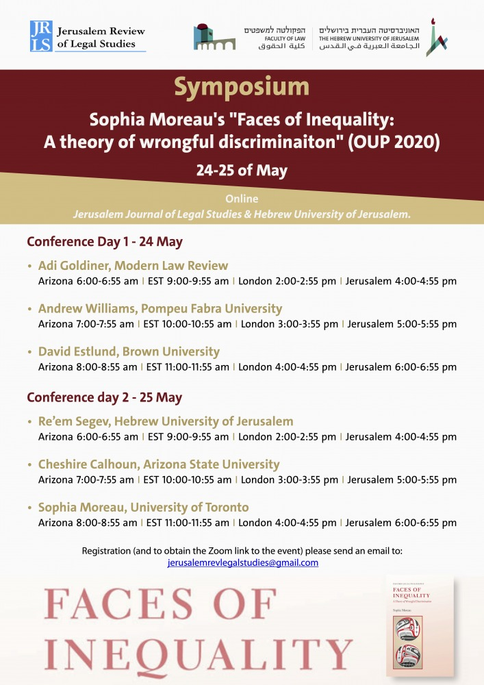 Sophia Moreau's Faces of Inequality- A theory of wrongful discriminaiton (OUP 2020)